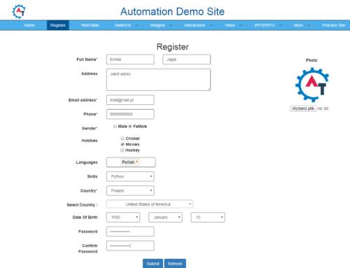 Selenium Webdriver – wypełnianie formularza
